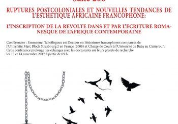 <strong>Emmanuel Tchoffogueu, «Ruptures post-coloniales et nouvelles tendances de l'esthétique africaine francophone»</strong>