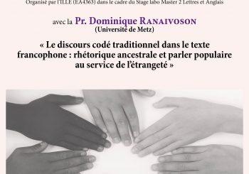 """Séminaire thématique I """"Interculturalité et oralité"""""""